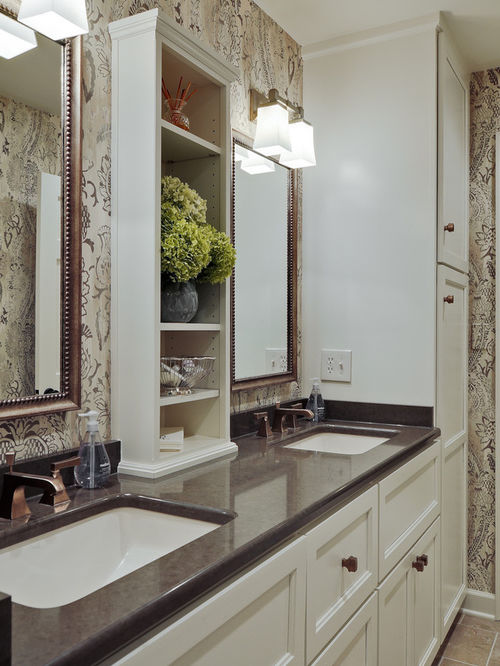 New bathroom countertop storage inspiration for a timeless bathroom remodel in nashville with an undermount  sink, ogrdpaa
