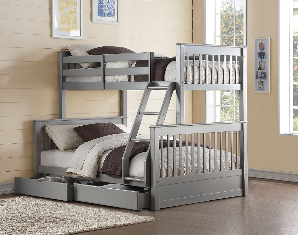 New bunk beds twin over full haley ii french gray finish twin over full bunk bed + storage drawers wemwtig