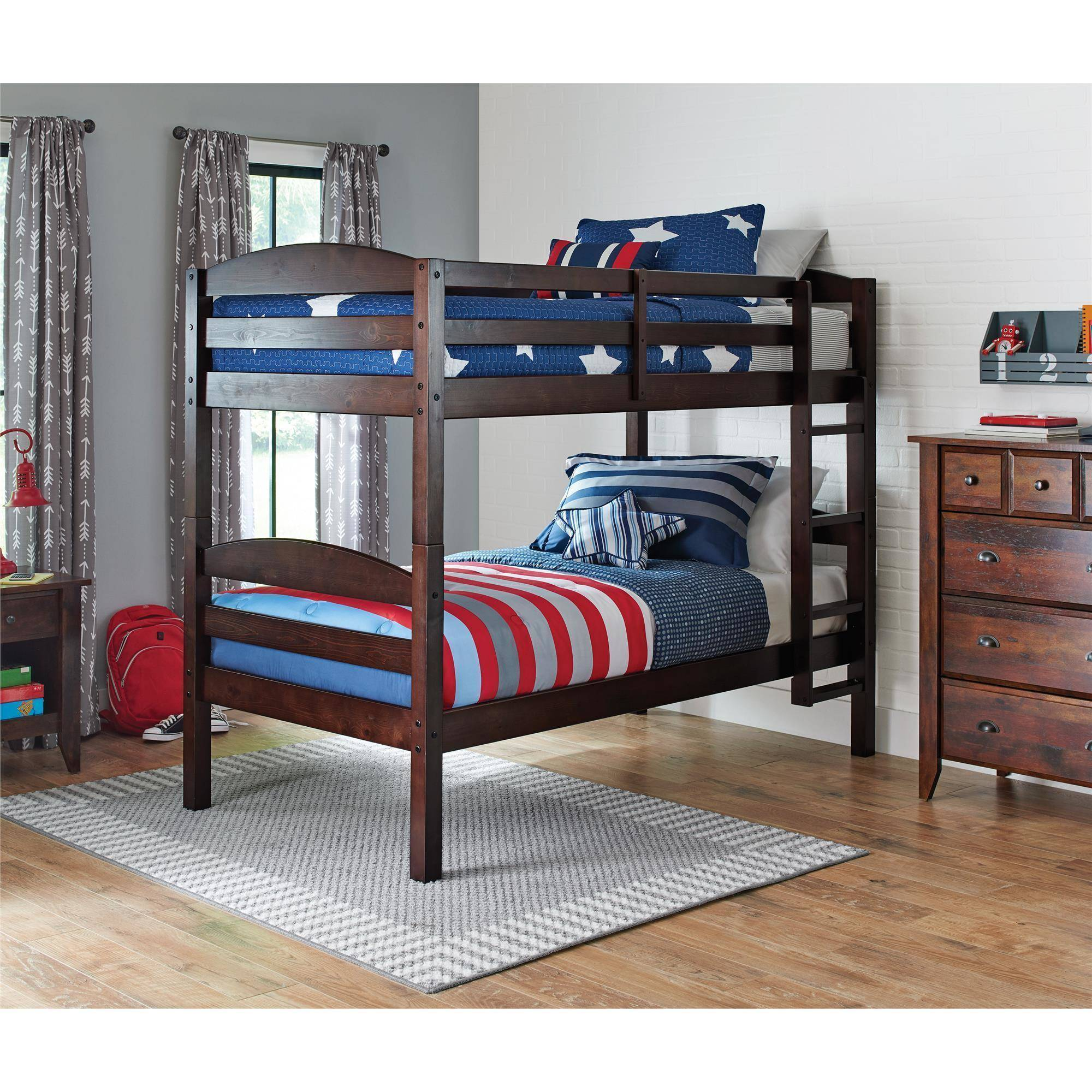 New bunk beds with mattresses better homes and gardens leighton twin over twin wood bunk bed ftgmqqs
