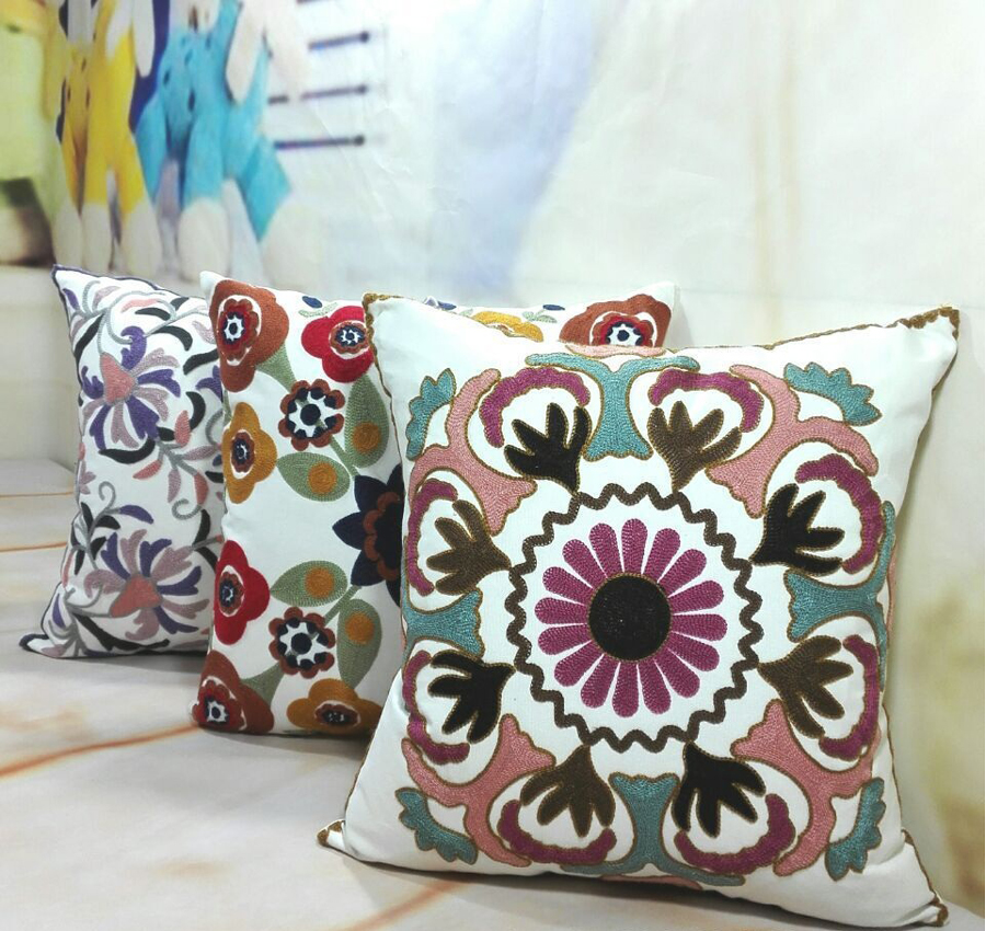 3 awesome decoration embroidered cushion covers