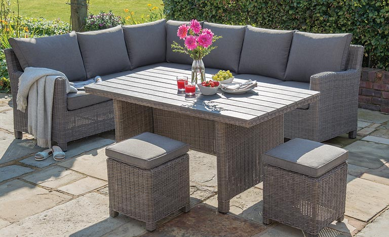 New grey rattan garden furniture elegant rattan outdoor dining chairs palma corner set casual dining garden  furniture koaetom