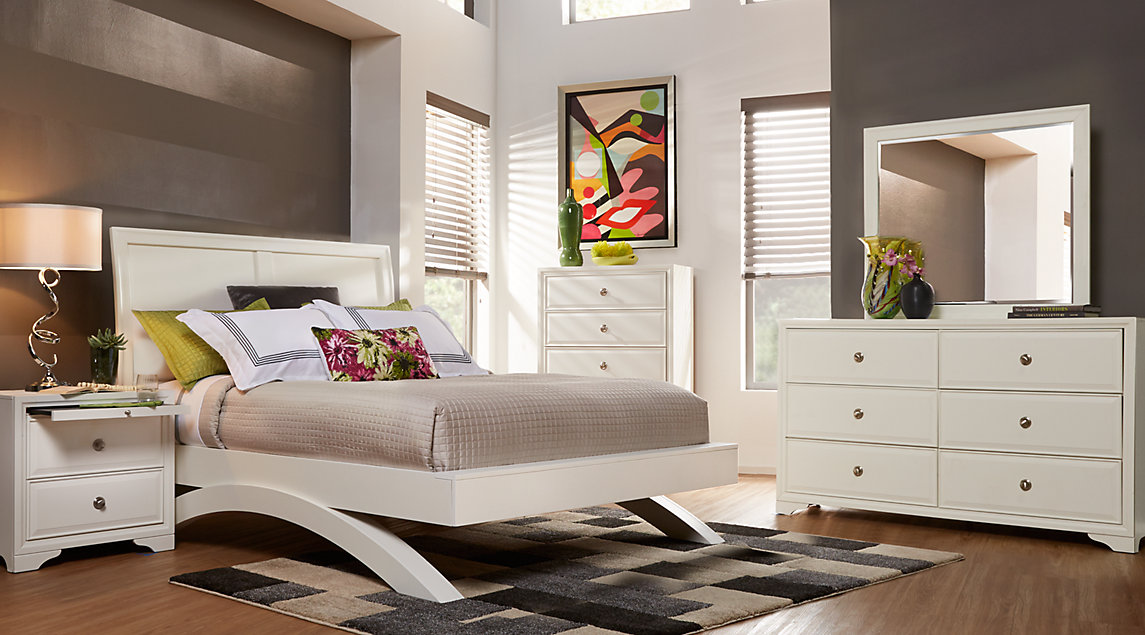 New king bedroom furniture sets belcourt white 5 pc king platform bedroom with sleigh headboard gbyokfs