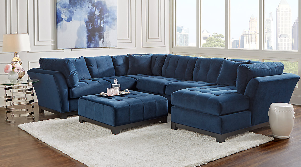 New living room furniture sets cindy crawford home metropolis navy 3 pc sectional pxpfxbq