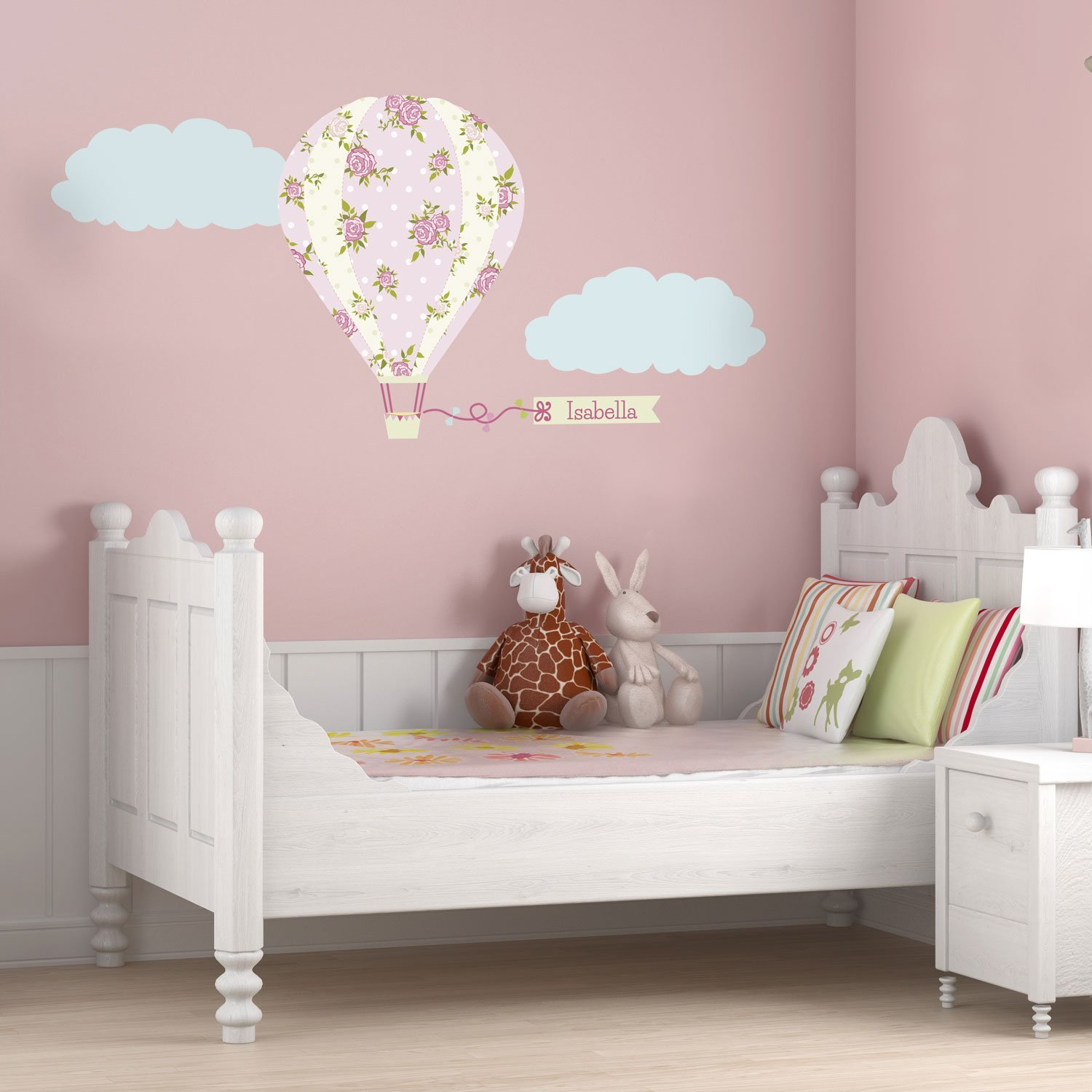 New personalised wall stickers personalised vintage hot air balloon wall sticker (large size):  amazon.co.uk: baby nvmddie