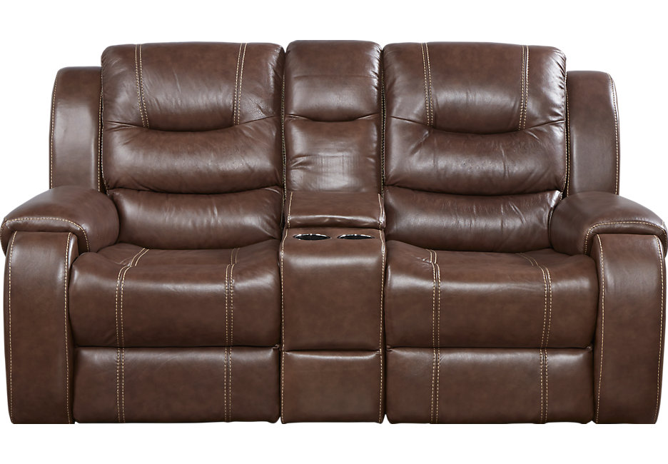 New reclining leather loveseat veneto brown leather power reclining console loveseat - leather loveseats  (brown) wcnozcd
