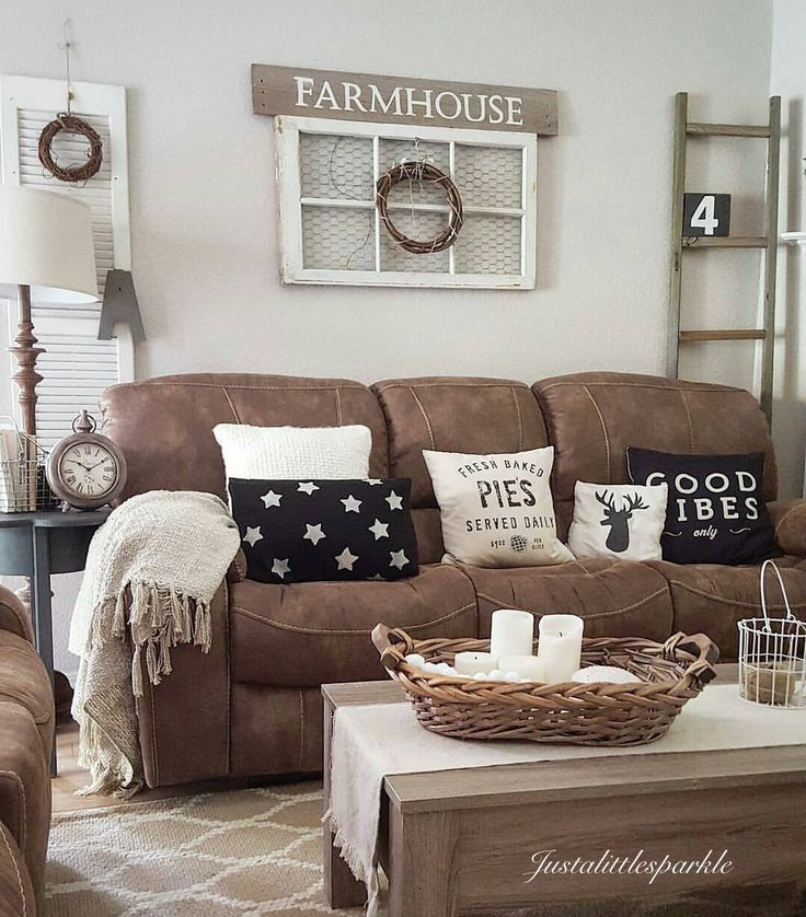 New rustic living room furniture brown couch, rustic home , rustic living room, farmhouse. pkguqie