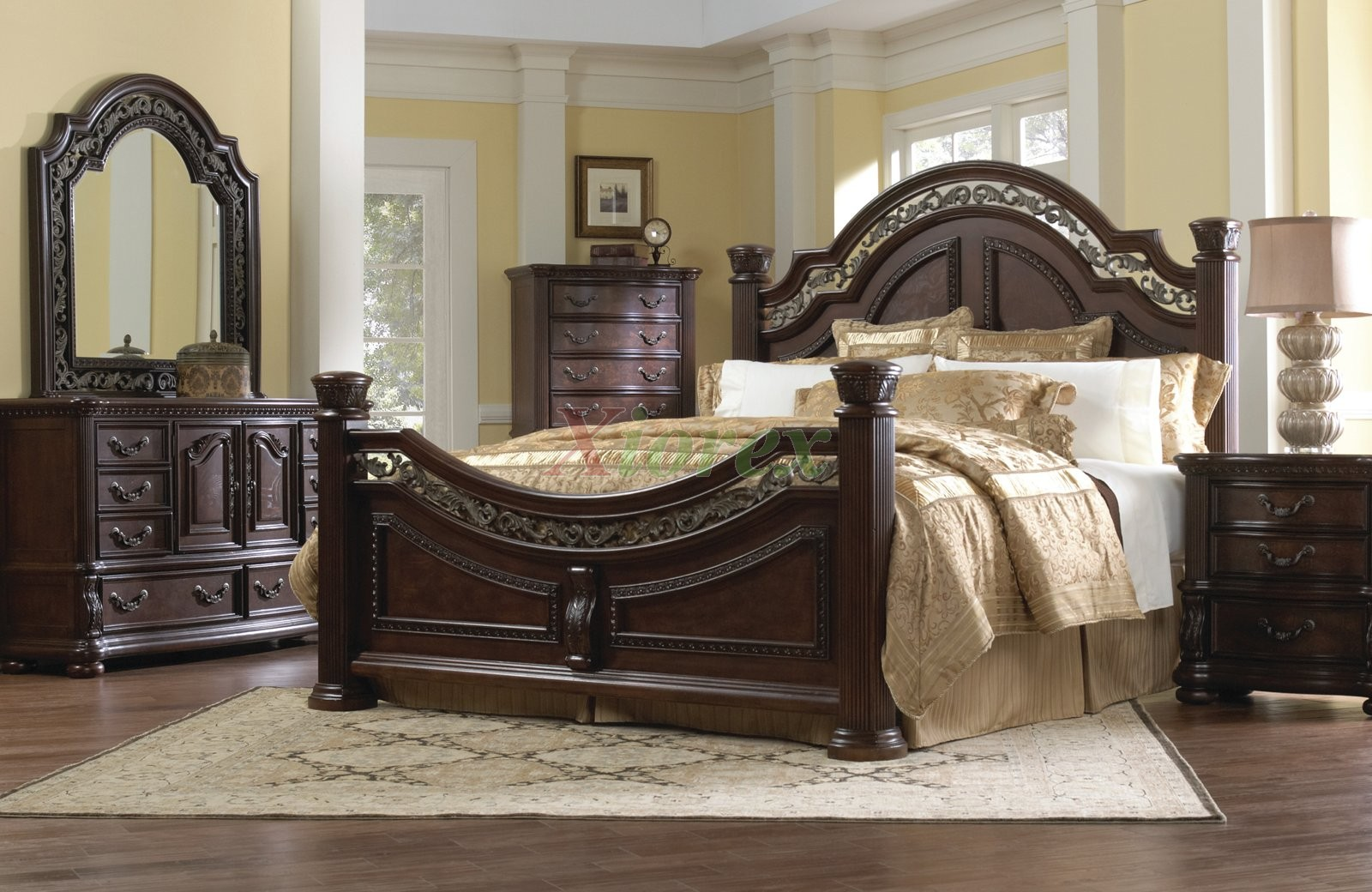 New traditional bedroom furniture set w arched headboard beds 107   xiorex fmbxbjh