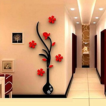 New wall stickers for living room edtoy 3d vase plum wall stickers living room sofa tv background wall wzlqltt
