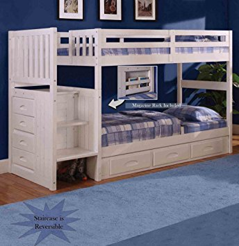 New white bunk beds with stairs discovery world furniture white staircase bunk bed twin/twin (stair  stepper) with 3 djahkny