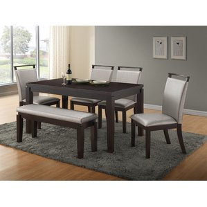 Photos of dining room sets with bench burrows 6 piece dining set fufuscp
