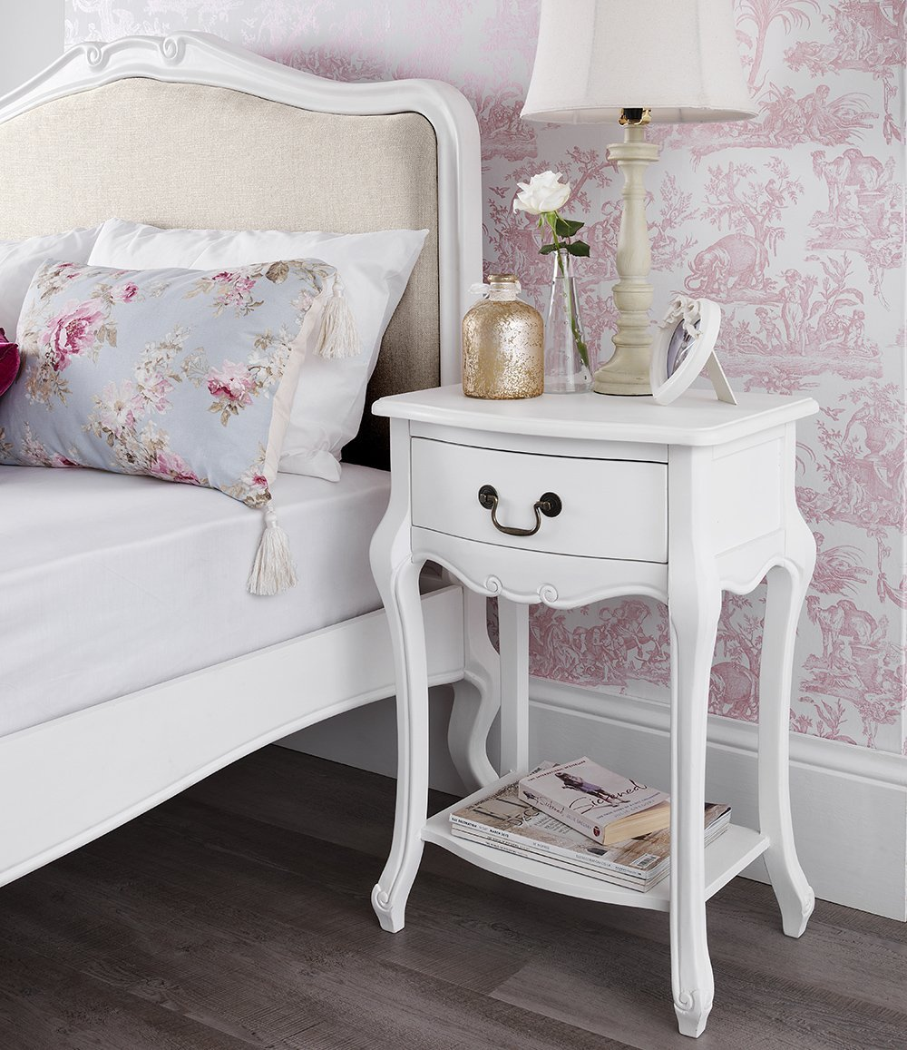 Photos of shabby chic bedside table shabby chic antique white upholstered 6ft super king bed, stunning french  bed: bjxcwki
