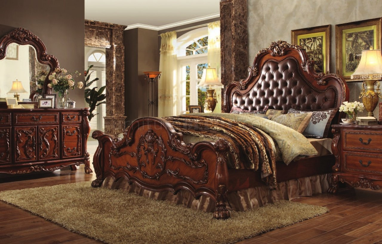 Pictures of classic bedroom furniture dresden 23140 bedroom in cherry oak by acme w/options vgwqing