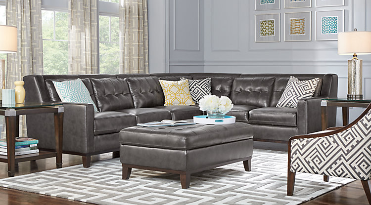 Pictures of leather living room furniture sets reina point gray leather 4 pc sectional lryrosi
