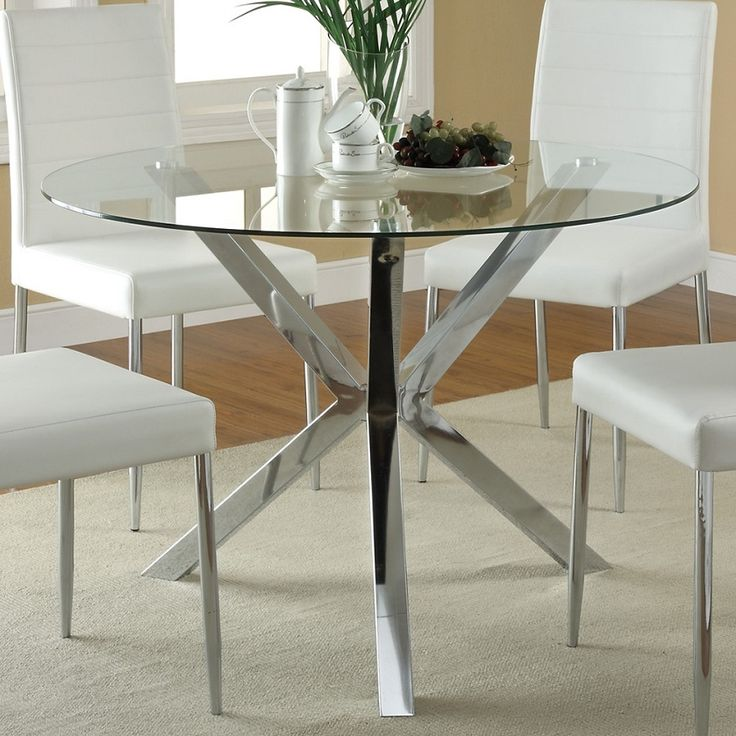 Pictures of round glass dining table 120760 round glass top dining table-the clean lines and modern look of the hoawsfv