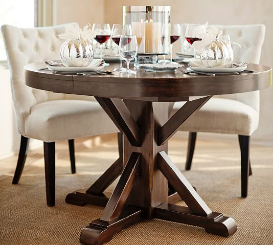 Pictures of round pedestal dining table benchwright extending pedestal dining table, alfresco brown afszlhw