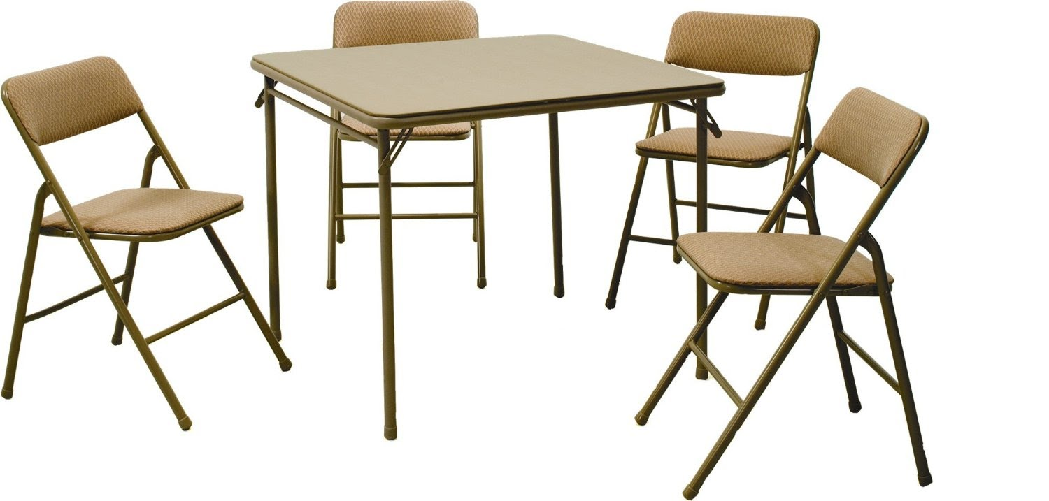 Popular folding table and chairs set review: cosco products 5-piece folding table and chair set, tan - youtube uhqfvbu