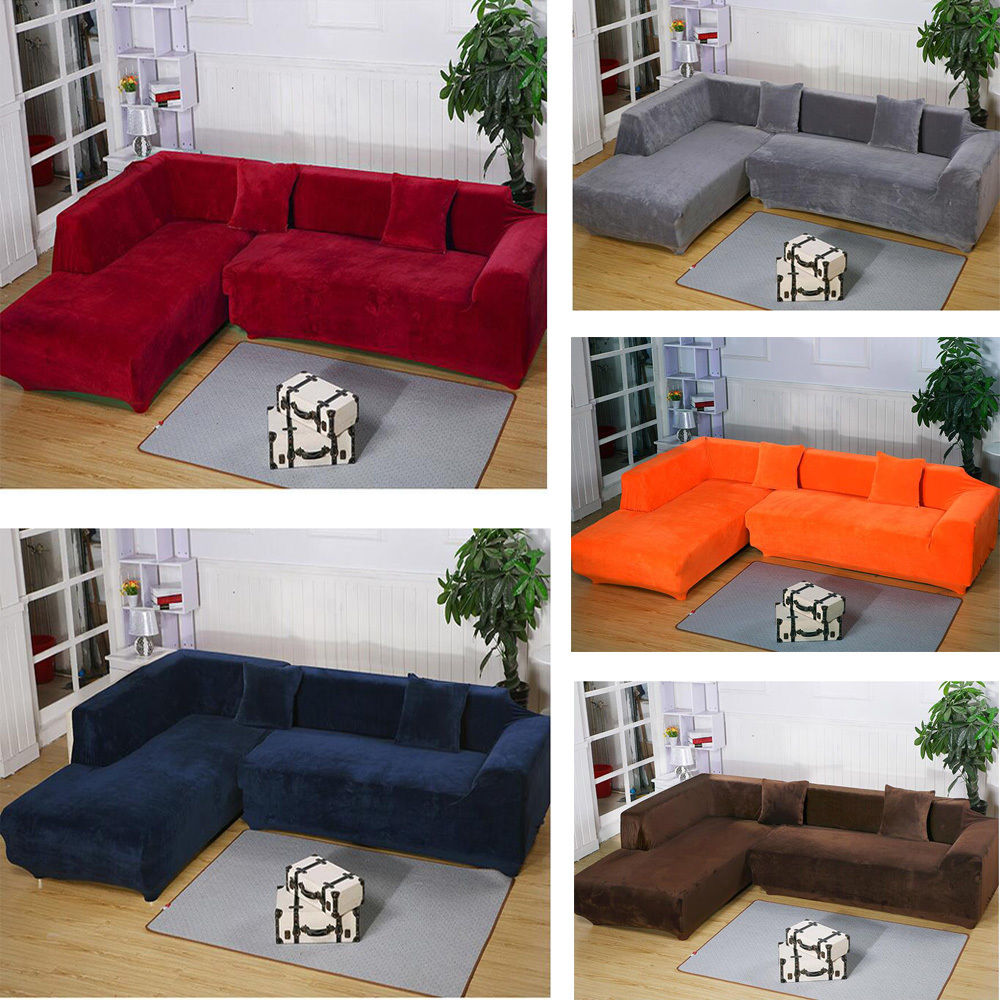 Popular l shaped sectional couch covers 2seats 3seats plush stretch sure fit l-shaped / sectional sofa slip covers jahogwm