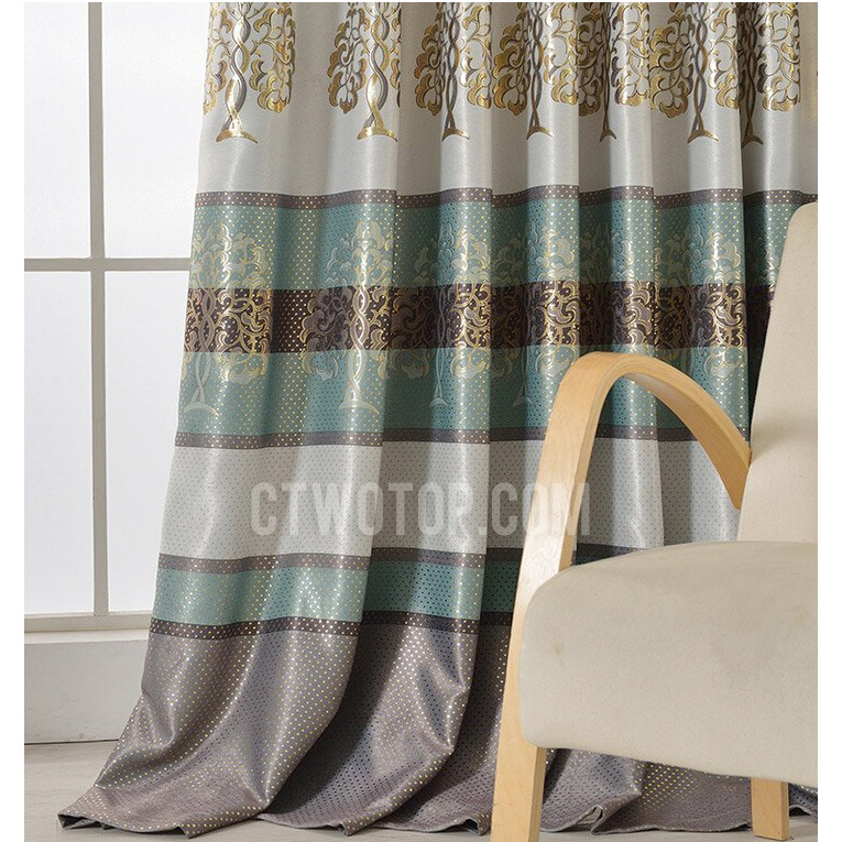 Popular luxury gold tree pattern thick suede thermal blackout curtains in dark green pxbuycx