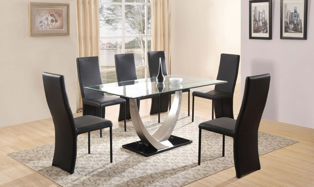 Popular magnificent round glass dining table and 6 chairs cheap dining table sets ihmtdsc