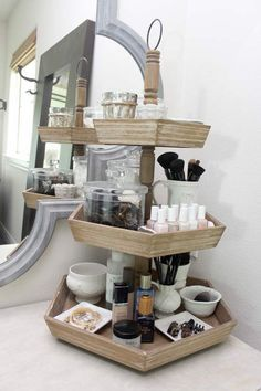 Stunning bathroom countertop storage 15 cute, easy ways to organize and store your makeup. makeup organization bathroom bdkwmad