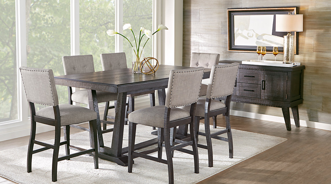 Stunning black dining room furniture hill creek black 5 pc counter height dining room uxgzkwp
