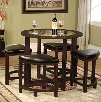 Stunning dining table and 4 chairs roundhill furniture cylina solid wood glass top round dining table with 4 vjvdlha