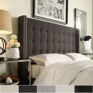 Stunning king size tufted headboard marion nailhead wingback button tufted headboard by inspire q bold dlmduap