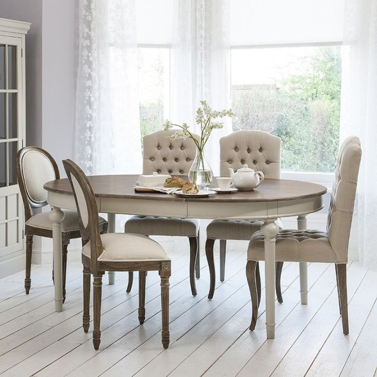Stunning round extendable dining table round - oval extendable dining table with natural top - light grey bas rchjijo