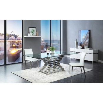 Stylish contemporary dining room sets modrest crawford modern rectangular glass dining table izydjhm