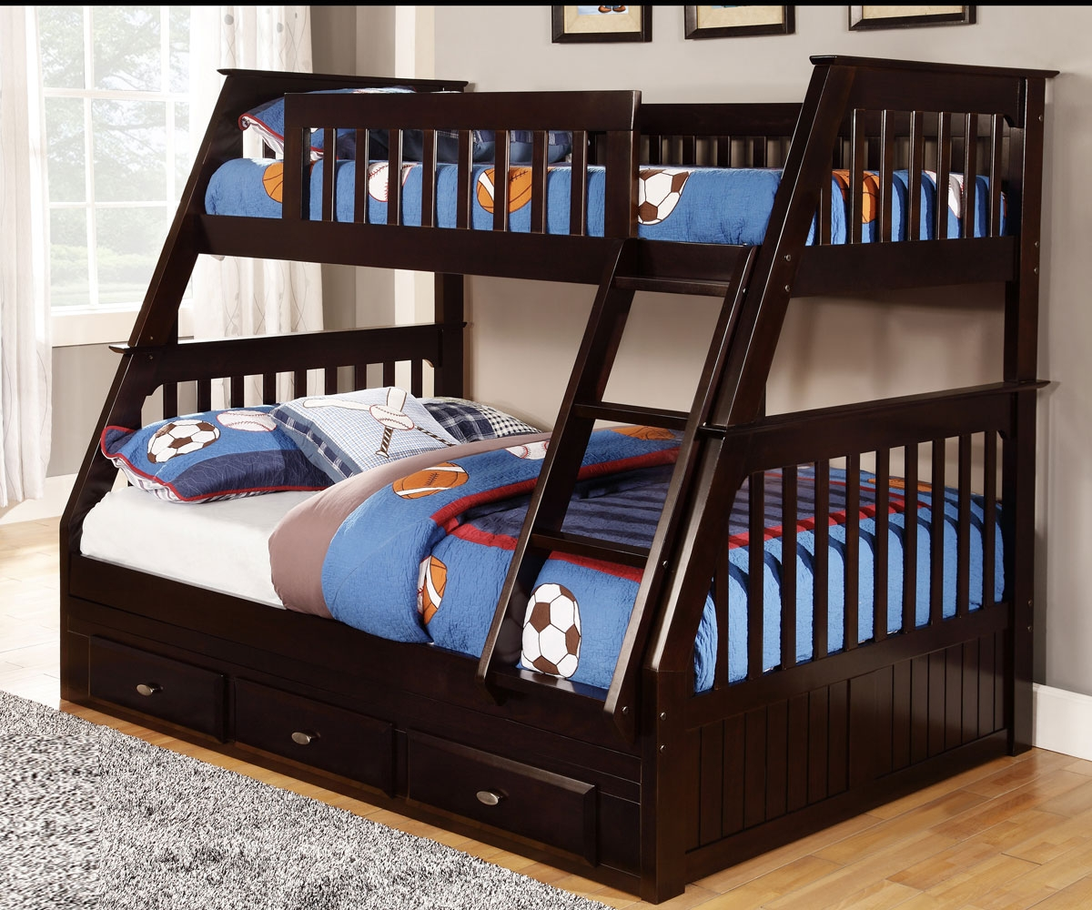Trendy bunk beds twin over full discovery world furniture espresso twin full bunk bed dwf2918 2918 with  trundle fttqocz