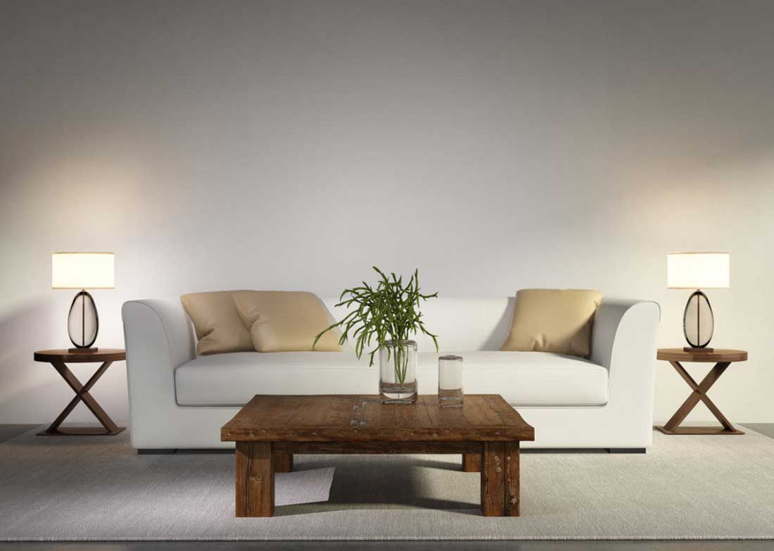 Trendy tall table lamps for living room ... long white sofa and wooden side table in living room with contemporary dhecvfb