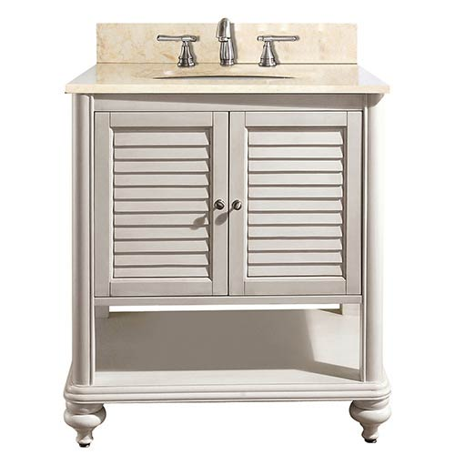 Trendy traditional bathroom vanities tropica antique white 30-inch sink vanity with galala beige marble top ndluwsb