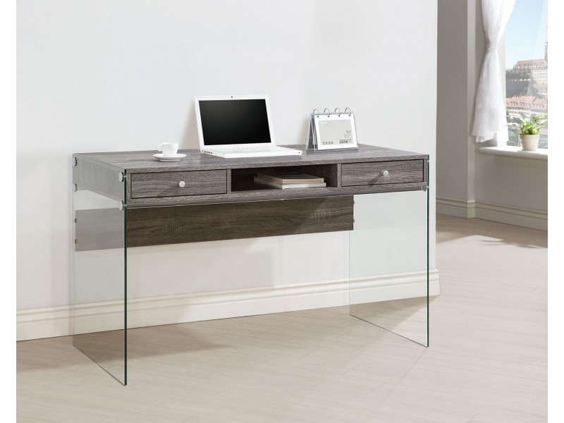 Unique contemporary computer desk weathered grey finish aezojlz