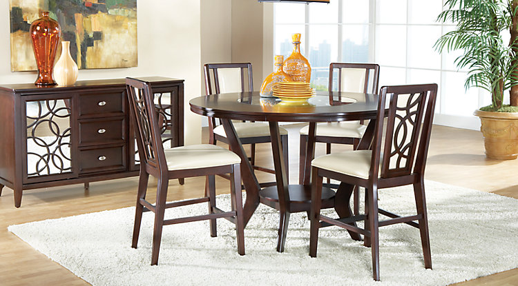 Unique dining room table and chair sets cindy crawford home highland park ebony 5 pc counter height dining room wnawlob