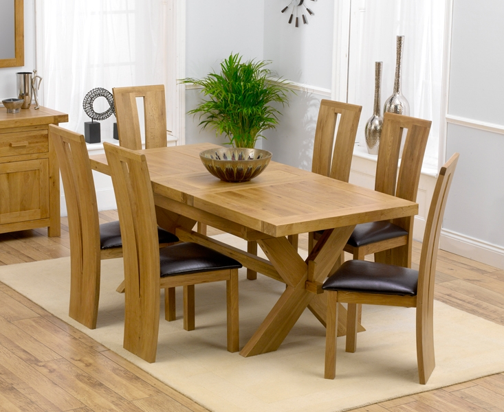 Unique dining table and 6 chairs ... chairs in cream source · bellano solid oak extending dining table 160 zqjpafw
