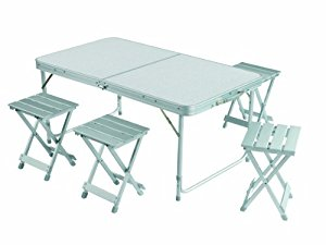 Unique folding camping table and chairs grand canyon camping-table set - foldable portable picnic table with chairs,  aluminium, megtmyu