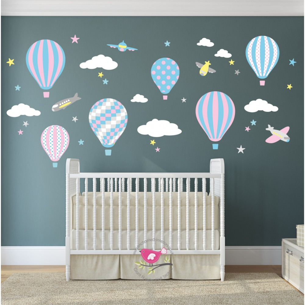 Unique wall stickers for nursery hot air balloon wall stickers enchanted interiors ezemkmj