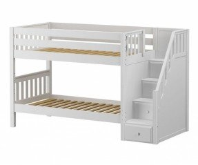 Unique white bunk beds with stairs maxtrix stacker low bunk bed with stairs twin size white xefurdh